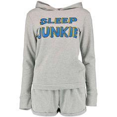 Boohoo Clara Sleep Junkie Crop Lounge Sweat And Short Set ($14) ❤ liked on Polyvore featuring intimates, sleepwear, pajamas, pyjamas, outfits, pijamas, short pajama set, short pajamas and short sleepwear