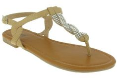 AwesomeNice Capelli New York Faux Leather With Rhinestone Chain Trim Ladies Sandal Natural 9