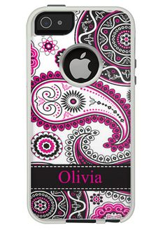 Monogram Customs  Black & Pink Paisley OtterBox Case for iPhone 4/4S/5/5S/5C