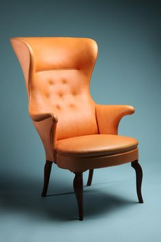 High backed wing chair, designed by Frits Henningsen, Denmark. 1940's.
