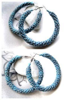 Blue denim shades crocheted tube hoop earrings by HoperalabJewels