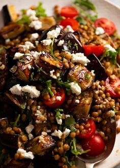 Close up of Roasted Eggplant Lentil Salad Lentil Recipes, Vegetable Recipes, Vegetarian Recipes, Cooking Recipes, Healthy Recipes, Roast Vegetable Salad, Crockpot Recipes, Chicken Recipes, Tomato Vegetable
