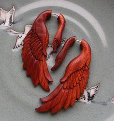 Beautiful swan, fake gauge earrings