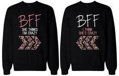 BFF Matching sweatshirts, designed and printed in USA. If you are looking for a high quality matching sweatshirts, this is it! Made in USA, our couples matching sweatshirts are individually printed using a digital printer and quality is assured. Best Friend Sweatshirts, Best Friend T Shirts, Friends Sweatshirt, Bff Shirts, Best Friend Outfits, Best Friend Clothes, Friends Shirts, Crazy Best Friends, Personalized T Shirts