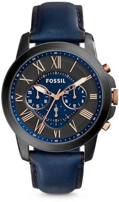 Fossil Grant Men's Blue Dial Leather Band Chronograph Watch - FS5061