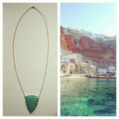 Perfect accessory for a beach vacation! #janepopejewelry #SPEARnecklace #MykonosGreece