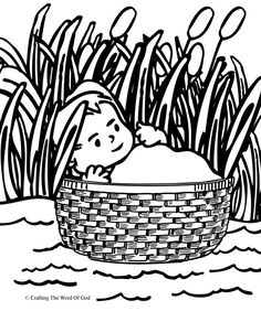Moses In The Basket (Coloring Page) Coloring pages are a great way to end a Sunday School lesson. They can serve as a great take home activity. Or sometimes you just need to fill in those last five. Bible Story Crafts, Bible School Crafts, Preschool Bible, Bible Activities, Bible Stories, Sunday School Projects, Sunday School Lessons, School Ideas, Sunday School Coloring Pages