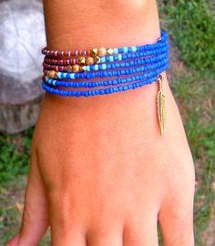 Elegant Seed Bead Memory Wire Bracelet Earthy by TabeasTreasures