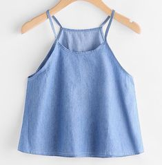 SheIn offers Chambray Cami Top & more to fit your fashionable needs. Fashion Tips For Girls, Teen Fashion, Fashion Clothes, Fashion Outfits, Winter Fashion, Crop Top Outfits, Crop Top Shirts, Cami Tops, Simple Outfits