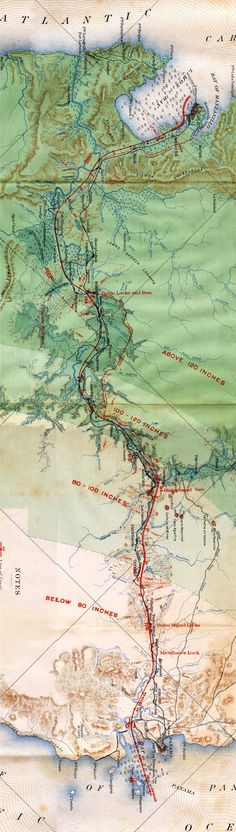 1901 Map of Panama. Panama before the Panama Canal. On the map, you can see the elevation of each section and the location of the future dam & locks. www.junglelandpanama.com
