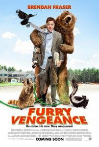 Furry Vengeance A man moves his family to a house in the woods so the construction company he works for can build a new subdivision. The woodland animals are not amused and fight back! My son loves the potty humor (i.e., the dad gets trapped in a port-a-potty) and my daughter loves the animals. I like the bad guys, played with goofy fun by Ken Jeong (The Hangover) and Angela Kinsey (The Office). 92 minutes, 2010, Rated PG || From: 5 Great Picks for Family Movie Night by Experienced Bad Mom