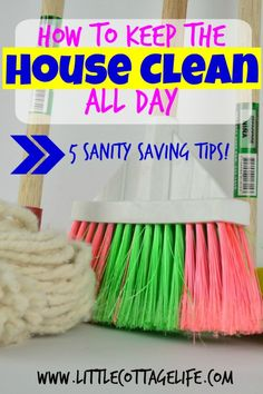 How to Keep the House Clean All Day. This is awesome! I have been doing this lately and it's ABSOLUTELY helping! I'm no longer feeling stressed out all the time from stuff being everywhere!