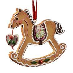 Gingerbread Rocking Horse, Käthe Wohlfahrt original design; hand-painted wooden ornament.