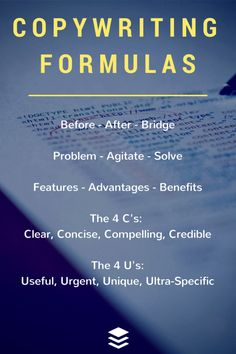 "27 Formulas That Can Drive Clicks and Engagement on Social Media: Before-After-Bridge; Problem-Agitate-Solve; 4 C's; 4 U's; ""A.I.D.A.""; more..."
