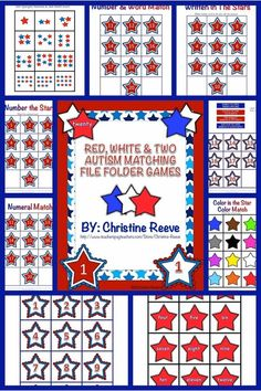 Red White and Two File Folders for Autism and Special Ed.  These 4 file folders will make excellent summertime tools resources centers in younger elementary classrooms as well as for work systems and instruction in special education classrooms. They are great for structured or independent work systems for students with autism and related disabilities as well. They focus on basic matching skills for colors, numbers and counting. $2