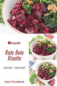 Rote Bete Rezepte, Risotto Rezepte: Rote Bete Risotto Rezept von herzelieb. Ein tolles Abendessen oder Mittagessen mit Rote Bete. Hausmannkost ganz farbenfroh. Ein schnell gemachtes Essen zum Feierabend und eine echte Geschmacksexplosion. Rote Bete, Grünkohl und Reis müssen nicht langweilig sein. #herzelieb