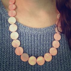 Groovy circle glass bead necklace! Pretty pink circle beads with pretty bronze vintage clasp! Jewelry Necklaces