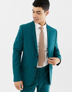 Farah Henderson Skinny Suit Jacket In Teal - Green from ASOS on 21 Buttons Blue Suit Wedding, Wedding Men, Wedding Suits, Fall Wedding, Wedding Ideas, Turquoise Suit, Teal Suit, Skinny Suits, Suit And Tie