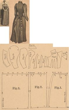 Der Bazar 1889: Dress from green cloth and reps-ottomane; 1., 2. and 3. skirt parts, 4. bodice's front part, 5. lapel, 6., 7. and 8. side gores, 9. back part, 10. collar in half size, 11. oversleeve's lining part, 12. sleeve's pouffy part, 13. undersleeve part