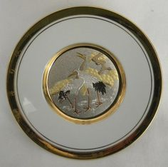 Hamilton New Year Chokin Japanese Floral Calendar Plate Pine, Crane  | PatternMania - Collectibles on ArtFire