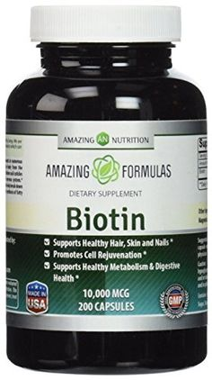 Amazing Nutrition Biotin 10,000 mcg Supplement - Best Vitamin to Support Healthy Hair, Skin, Nails, Digestive Healthy and Healthy Ageing - 200 Capsules in each Bottle! -- Click image for more details.