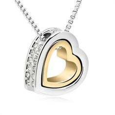 Exquisite Shine Jewellery Necklace by Swarovski Elements-White Heart - Promotional Offers- - TopBuy.com.au