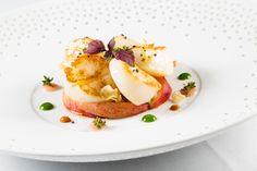 Capesante scottate con pesca, topinambur e ricci di mare- L'Olivo Restaurant, Two Michelin Stars - Capri Palace Hotel & Spa, Anacapri, Italy