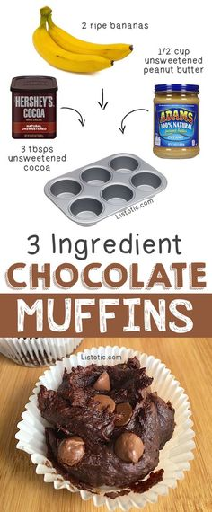 Super RICH healthy chocolate muffins! Basically, brownies. YUM -- Quick, easy and healthy 3 ingredient snacks for kids, teens and adults! The perfect guilt-free treats and desserts! These recipes are perfect for weight loss and health. Listotic.com