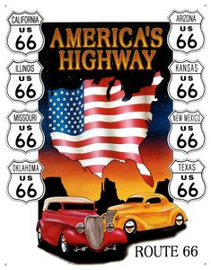 Route 66 Americas Highway Cars Metal Sign