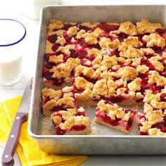 Raspberry Patch Crumb Bars Recipe -To give these fresh, fruity bars even more crunch, add a sprinkling of nuts to the yummy crumb topping. Everyone will want to indulge. —Leanna M. Thorne, Lakewood, Colorado