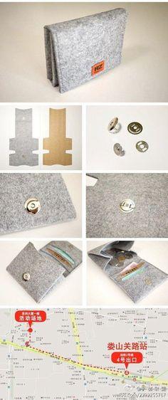 Kleines Portemonnaie aus Filz Small wallet made of felt – Sewing Tutorials, Sewing Crafts, Sewing Projects, Video Tutorials, Felt Wallet, Felt Purse, Card Wallet, Coin Purse, Ideias Diy