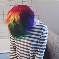 New Hair Rainbow Short Style Ideas Hair Dye Colors, Cool Hair Color, Hair Inspo, Hair Inspiration, Decor Inspiration, Short Rainbow Hair, Androgynous Hair, How To Draw Hair, Hair Art