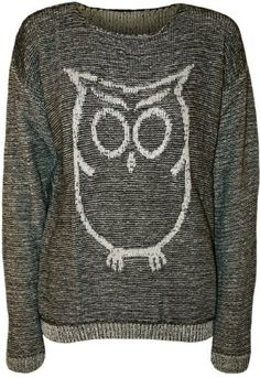 PaperMoon Women's Owl Long Sleeve Knitted Jumper - Grey - US 4-6 (UK 8-10)