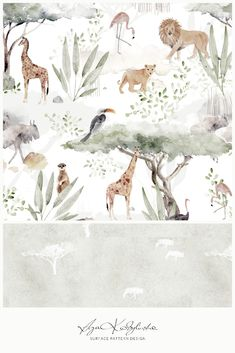 """Savanna"" - a surface pattern design collection, hand illustrated by Aga Kobylińska, featuring lions, giraffes, warthogs, meerkats, birds and plants that can be observed during safari trip through African savannah. Prints available on baby products (bedding, clothes, mom's bags) of Makaszka brand. (makaszka.pl) Watercolor Cake, Watercolor Plants, Textile Design, Fabric Design, Paper Illustration, Classroom Crafts, Baby Bedroom, Surface Pattern Design, Mask For Kids"