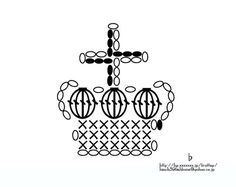 Crochet crown applique chart pattern