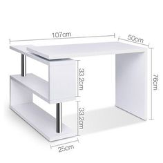 22 DIY Computer Desk Ideas that Make More Spirit Work - Enth.- 22 DIY Computer Desk Ideas that Make More Spirit Work – EnthusiastHome Computer Desk Corner Table w/ Rotating Bookshelf Study Student Office White - Home Office Furniture, Home Office Decor, Home Furniture, Furniture Design, System Furniture, Furniture Removal, Furniture Online, Furniture Plans, Diy Computer Desk