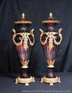 Photo of Pair Classic Empire Cut Glass Amphora Urns Vases Ormolu