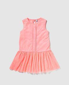 Vestido combinado de niña Freestyle naranja con tul