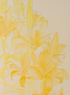 Step 1 of orange lilies watercolor painting demonstration by Lisa Hill