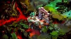 I dig my hole, you build a wall.  Bastion. Amazing game, unbelievable soundtrack.