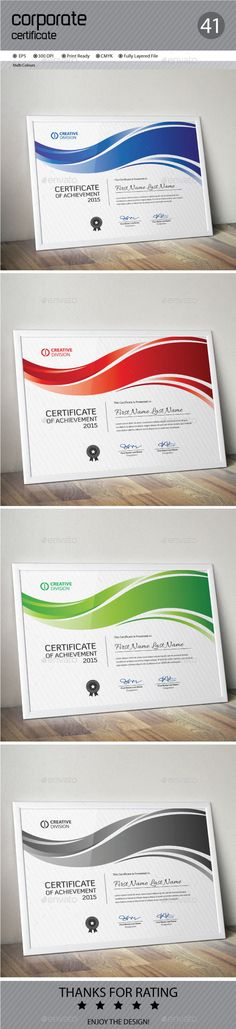 Buy Certificate by ConceptFactory on GraphicRiver. Certificate is especially for Corporate or Professional use. 4 different color.