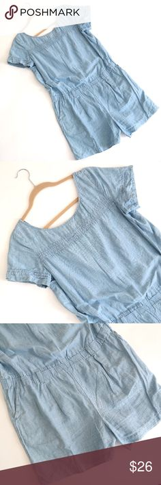 LOFT Chambray Romper This is such a fun, playful chambray denim romper! Only worn one or two times on my trip to Italy, so in excellent condition. It is a cotton and linen blend. Has a crew neck line in a T-shirt fashion with belt loops at the waist and front pockets. It really is super cute and very comfortable! LOFT Other