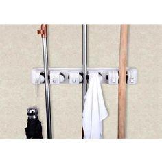 Wall Mop And Broom Organizer For Bathroom Linen Closet