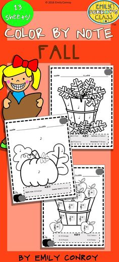 Color by Note (Fall) contains 13 Coloring sheets that include various combinations of quarter notes, eighth notes, half notes, dotted half notes, and whole notes. 3 of the sheets even have a connect-the-dot twist where students count by 2's, 5's, and 10's! Great way to integrate math into music.