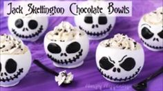 Jack Skellington Chocolate Bowls filled with a 5-Ingredient Cookies 'n Cream Cheesecake Mousse are to die for!  Thanks to our friends at @hungryhappenings and #halloweenextreme . Recipe - http://hungryhappenings.com/jack-skellington-chocolate-bowls.html/  #JackSkellington #NightmareBeforeChristmas #Halloween #autumn #fall #hungryhappenings