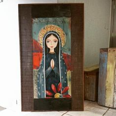 Nossa Senhora pintada na Peroba rosa com ferro Catholic Art, Religious Art, Cross Art, Art Deco Posters, Naive Art, Sacred Art, Christian Art, Cat Art, Ikon