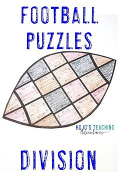 These division football puzzles are a great way to celebrate the NFL season, college bowl games, the big homecoming game at your local school, the Super Bowl, or to use for the football fanatic in your 3rd, 4th, or 5th grade classroom or homeschool. Plus there are great FREE downloads, book ideas, math, reading, social studies, food ideas, and more included at this blog post. Click through now to see how your third, fourth, or fifth grade students can have some football fun. #football Teaching Division, Math Division, Father's Day Activities, Classroom Activities, Football Math Games, 5th Grade Classroom, Home Schooling, Fast Finishers, Math Centers