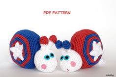 Crochet Amigurumi Pattern  Stars And Stripes 4th of July by Amichy, $5.00