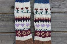 Hand Knit Socks Women Socks Fair Isle Socks Boots Socks by MrMIZO