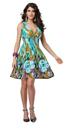 Women's Casual Low-cut V-neck Backless Printed Sundresses
